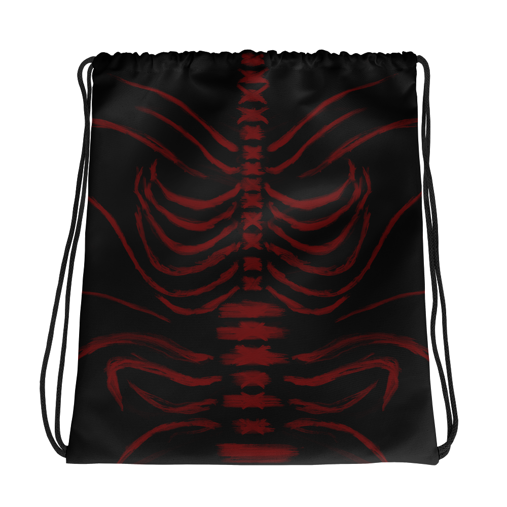 """Featured image for """"Grungy Ribcage - Red Black - Drawstring bag"""""""