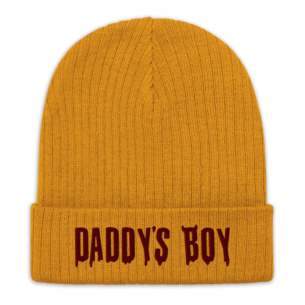 """Featured image for """"Daddy's Boy - Recycled cuffed beanie"""""""