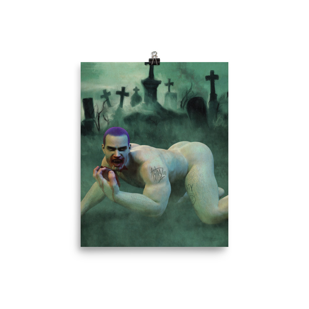 """Featured image for """"vampire Graveyard Grunge  8x10 - Poster Print"""""""